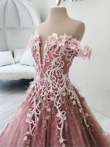 Gorgeous Ball Gown Off the Shoulder Blush Pink Beaded Long Prom Dresses, Quinceanera Dresses with Handmade Flowers