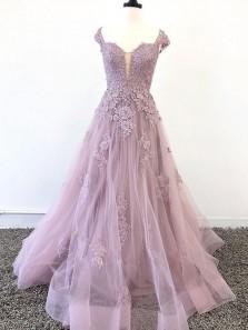 Elegant A Line Sweetheart Open Back Grey Pink Appliques Long Prom Dresses, Fashion Quinceanera Dresses