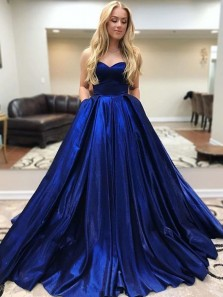Gorgeous Ball Gown Sweetheart Sparkly Royal Blue Satin Long Prom Dresses, Birthday Dresses with Pockets