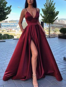 Gorgeous Ball Gown V Neck Spaghetti Straps Slit Dark Red Satin Long Prom Dresses, Formal Dresses with Pockets