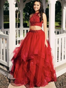 Cute Ball Gown Halter Open Back Two Piece Red Tulle Beaded Quinceanera Dresses, Gown Dresses