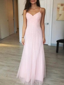 Fairy A Line Sweetheart Spaghetti Straps Pink Tulle Long Bridesmaid Dresses Under 100, Simple Bridesmaid Dresses