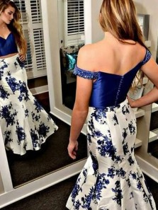 Charming Two Piece Mermaid Off the Shoulder Navy Long Prom Dresses, Beaded Prom Dresses