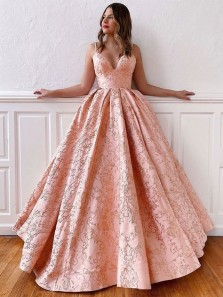 Gorgeous Ball Gown V Neck Spaghetti Straps Cross Back Blush Pink Long Prom Dresses, Quinceanera Dresses