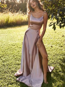 Chamring A Line Scoop Neck Spaghetti Straps Slit Long Prom Dresses, Blush Satin Evening Dresses