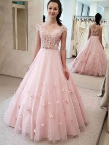 Gorgeous Ball Gown Off the Shoulder Two Piece Pink Long Prom Dresses, 3D Flower Quinceanera Dresses, Birthday Dresses