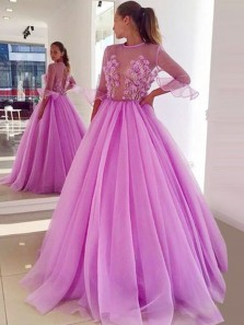 Fairy Ball Gown See Through Ruffled Half Sleeves Fuchsia Tulle Long Prom Dresses with Appliques, Quinceanera Dresses