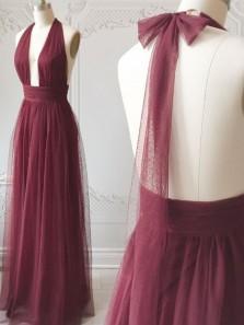 Simple A Line Halter Burgundy Tulle Ruffled Long Prom Dresses, Bridesmaid Dresses Under 100
