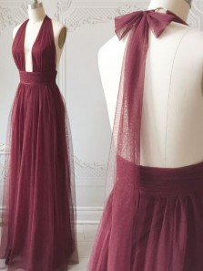 Simple A Line Halter Burgundy Tulle Ruffled Long Prom Dresses, Bridesmaid Dresses Under 100