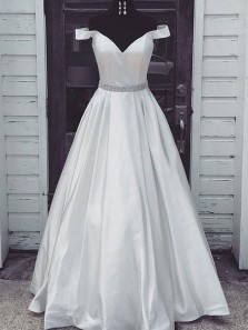 Charming Ball Gown Off the Shoulder Ivory Satin Long Prom Dresses with Beading, Quinceanera Dresses