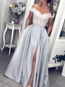 Charming Ball Gown Off the Shoulder Silver Prom Dresses with Lace, Slit Prom Dresses