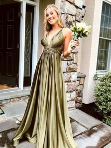 Charming A Line V Neck Olive Green Satin Bridesmaid Dresses Under 100