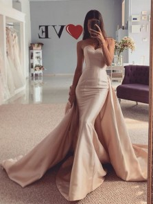 Mermaid Sweetheart Champagne Satin Wedding Dresses with Removable Train
