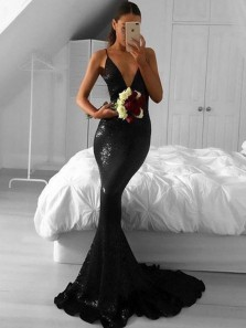 Sparkly Mermaid V Neck Spaghetti Straps Black Sequins Evening Dresses, Black Prom Dresses