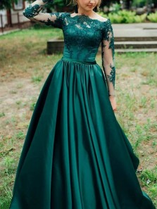 Off-the-Shoulder Long Sleeves Dark Green Satin Prom Dress with Appliques