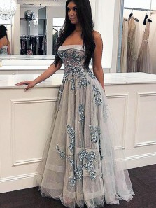 Cute A Line Strapless Grey Tulle Prom Dress with Appliques Beautiful Dress