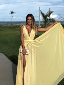 Charming A Line Deep V Neck Daffodil Chiffon Long Evening Dresses, Split Long Party Dresses