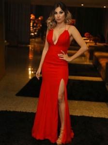 Charming Mermaid V Neck Straps Red Split Evening Party Dresses, Prom Dresses