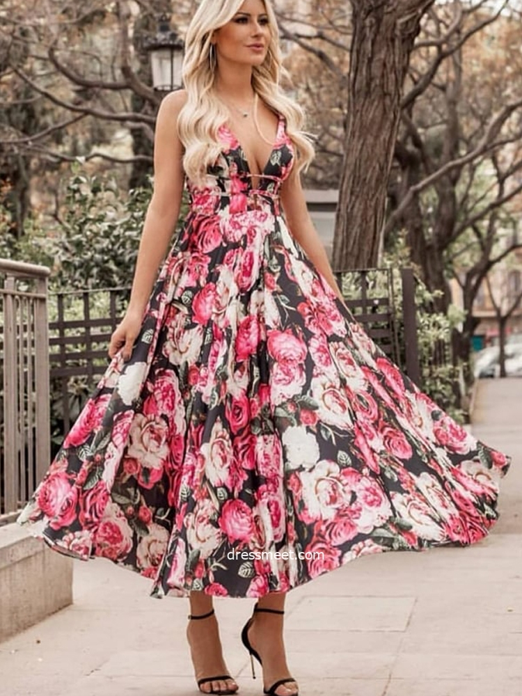 Cute V Neck Floral Printed Tea Length Party Dress for Wedding,Charming Holiday Dresses