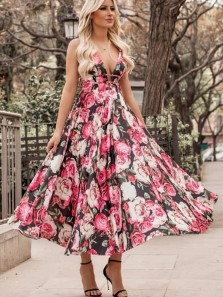 Cute V Neck Floral Printed Tea Length Party Dress for Wedding