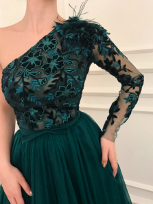 Charming One Shoulder Lace Tulle Prom Dress, Long Sleeves Evening Party Dress
