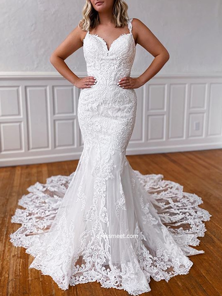 Mermaid Sweetheart Straps Lace Appliques Wedding Dresses