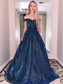Sparkly Off the Shoulder Ball Gown Navy Blue Satin Prom Dresses