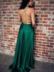 A Line Spaghetti Straps Dark Green Satin Split Prom Dresses, Party Dresses Under 100
