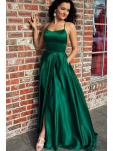 A Line Spaghetti Straps Dark Green Satin Split Prom Dresses, Party Dresses Under 100