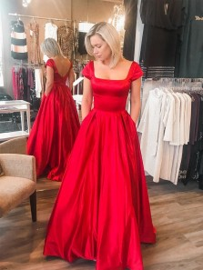 1950s Vintage Ball Gown Cap Sleeves Red Satin Long Prom Dresses with Pockets