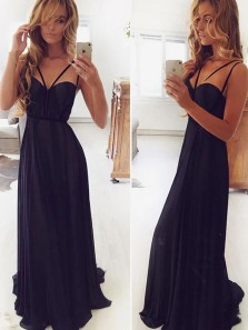 Cute Sheath Sweetheart Spaghetti Straps Black Satin Prom Dresses, Evening Party Dresses