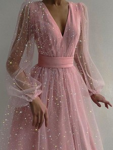 Sparkly A Line V Neck Long Sleeves Blush Pink Tulle Party Dress