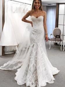 Elegant Mermaid Sweetheart Lace Wedding Dress with Train