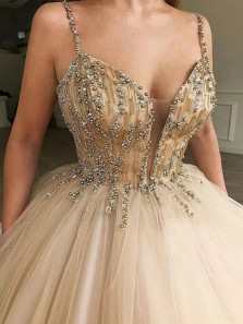 Ball Gown V Neck Spaghetti Straps Gold Tulle Prom Dresses with Beading