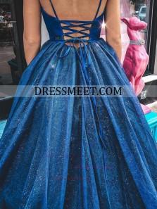 2021 New Arrival Sparkly Ball Gown V Neck Straps Royal Blue Prom Dresses
