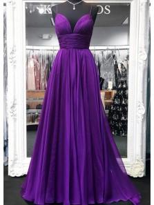 Charming A Line V Neck Spaghetti Straps Purple Chiffon Long Prom Dresses, Simple Evening Dresses