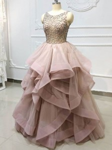 Gorgeous Ball Gown Round Neck Open Back Beaded Blush Long Prom Dresses, Quinceanera Dresses, Sweet 16 Dresses