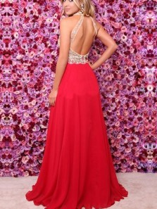 Charmign A Line Halter Red Beaded Long Prom Dresses, Chic Evening Party Dresses