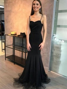 Cute Mermaid Sweetheart Spaghetti Straps Black Long Prom Dresses, Simple Evening Dresses