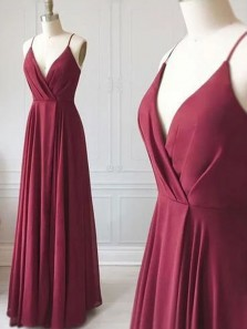 Simple A Line V Neck Spaghetti Straps Dark Red Long Bridesmaid Dresses Under 100, Ruffled Bridesmaid Gowns
