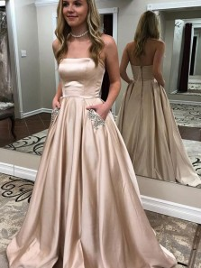 Charming Ball Gown Strapless Beaded Champagne Satin Long Prom Dresses with Beaded, Party Dresses