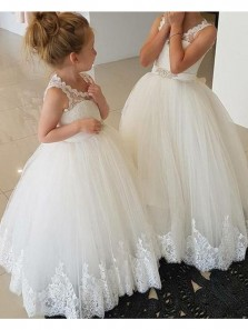 Cute A Line Lace & Appliques Flower Girl Dresses with Bow