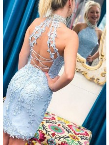Cute Sheath Halter Cross Back Light Blue Lace Short Party Dresses, Homecoming Dresses with Beading