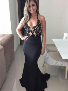 Charming Mermaid Scoop Neck Black Satin Long Prom Dresses, Sexy Evening Parkly Dresses