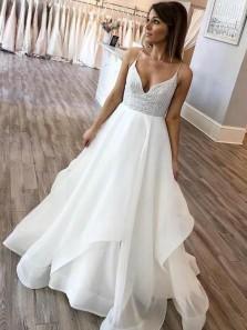Ball Gown V Neck Spaghetti Straps Ivory Wedding Dresses, Lace Wedding Dresses