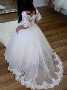 Sweet A Line Scoop Neck Half Sleeves Lace Flower Girl Dresses with Appliques