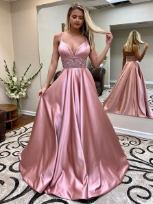 Gorgeous Ball Gown V Neck Spaghetti Straps Blush Satin Long Prom Dresses with Beading, Charming Prom Gowns with Pockets
