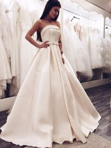 Vintage Ball Gown Strapless Satin Long Wedding Dresses with Bow, Cute & Elegant Wedding Dresses