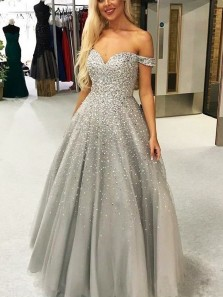 Gorgeous Ball Gown Off the Shoulder Open Back Grey Long Prom Dresses with Beaded, Quinceanera Dresses