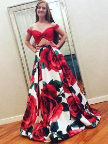 Charming Ball Gown Off the Shoulder Floral Print Satin Two Piece Prom Dresses with Pockets